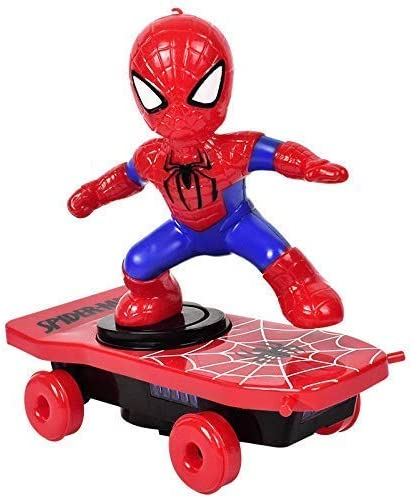 VKR Vakra Creation Kids Automatic Rotation Electric Skateboard Dance Spider Man Electronic Walking Toys with Music Light