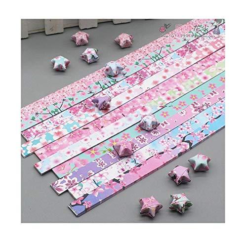 Doppelseitige Drucksterne Origami-Streifen, Kirschblüte und Chrysanthemenmuster handgefertigtes fünfzackiges sternfarbenes Papier-Kirschblüte 3