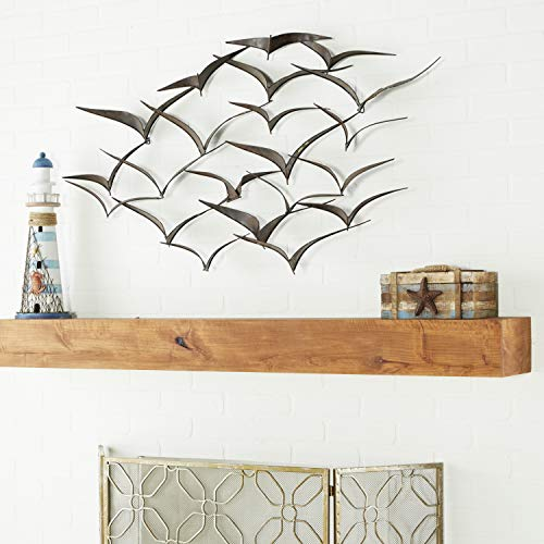 "Deco 79 Brown Flying Birds Modern Metal Wall Art Décor, 47"" x 26"""
