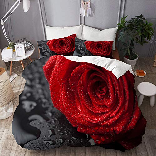 Aliciga bedding-Duvet Cover Set,beautiful red rose with water droplets over black background,Microfibre 230x220 with 2 Pillowcase 50x80,King