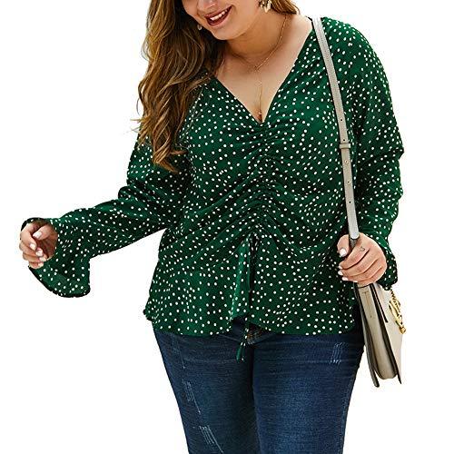 Dames Tops Elegant Blouse V-hals Lange Mouw Trekkoord Dot Print Casual Plus Size Top 2020