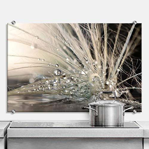 Paraschizzi da cucina a forma di gocce d'acqua, con fissaggio a morsetto, in acciaio inox, 80 x 60 cm