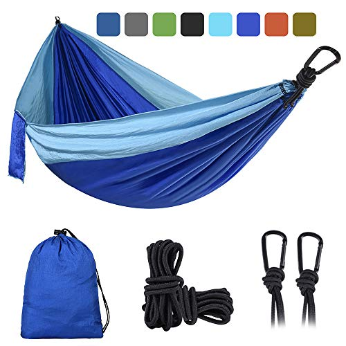 DONGOLO Camping Hammock Lightweight Portable Parachute Nylon Hammock Set for Indoor & Outdoor & Swing or More Includes Nylon Straps & Two Steel Hook (Light Blue/Dark Blue, Single)