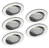Trango Set de 5 LED regulables Focos empotrables Foco empotrable proyector de aluminio inoxidable TG6729-059GU5SD giratorio incl. 5x Regulación de 3 escalones GU10 Fuente de luz LED directa 230V