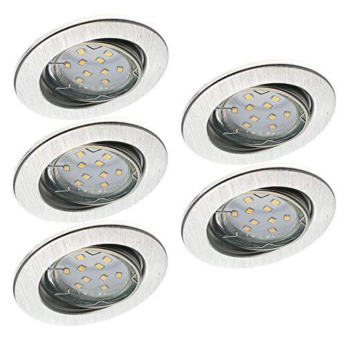 Trango 5er Set TG6729-059GU5SD dimmbare LED Einbaustrahler Einbauleuchten aus rostfreiem Aluminum schwenkbar inkl. 5x GU10 LED Leuchtmittel