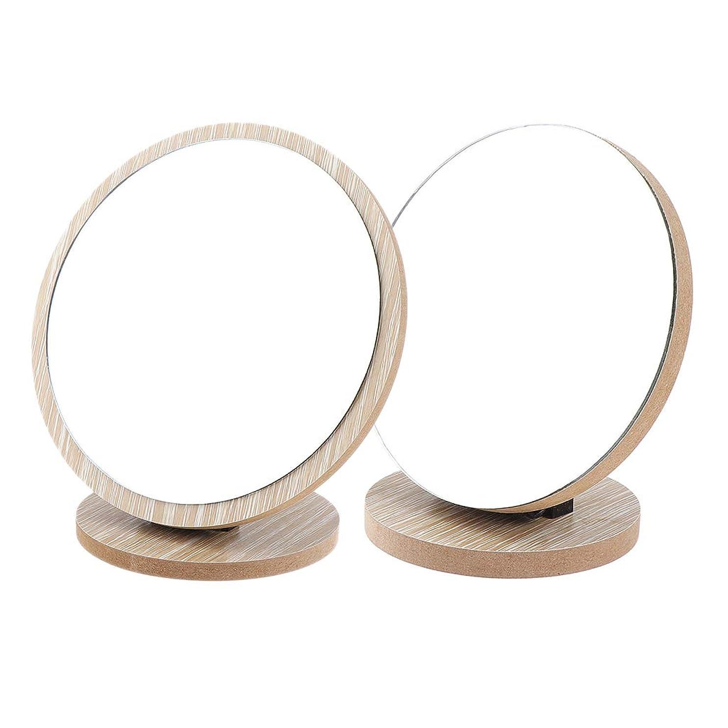 富倍増分析するP Prettyia 2個 メイクアップミラー 木製ベース ラウンド メイク用 鏡