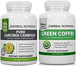 #1 DIET STACK - GARCINIA CAMBOGIA & GREEN COFFEE BEAN EXTRACT TOGETHER | | ONE BOTTLE EACH | DOUBLE DIET ATTACK | Garcinia 75% HCA | 1500mg | Green Coffee 50% Chlorogenic Acid | 800mg | Free Shipping