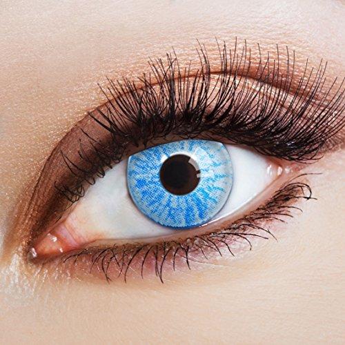 aricona Kontaktlinsen - Hellblaue Kontaktlinsen Farblinsen ohne Stärke - Farbige Kontaktlinsen für Karneval, Fasching, Cosplay, 2 Stück