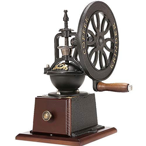 ZOUJUN Manuelle Kaffeemühle, Vintage-Stil aus Holz Kaffeemühle Roller Getreidemühle Kurbel Kaffeemühlen Kleiner Edelstahl Schleifen Core (10,6 Zoll)