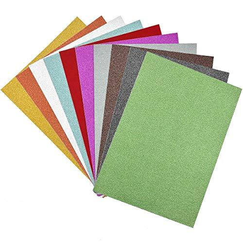 Dokpav 10 Fogli di Carta Glitterata in 10 Diversi Colori Adesiva Carta Crepla Glitter Cartoncini...