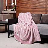 FLINCOUS Electric Heated Throw Blanket, Flannel Fleece & Sherpa 71 X 51 inch Heated Throw Blanket, ETL Certification with 3 Heating Levels & 2 Hour Auto Off, Home Office Use & Machine Washable (Pink)
