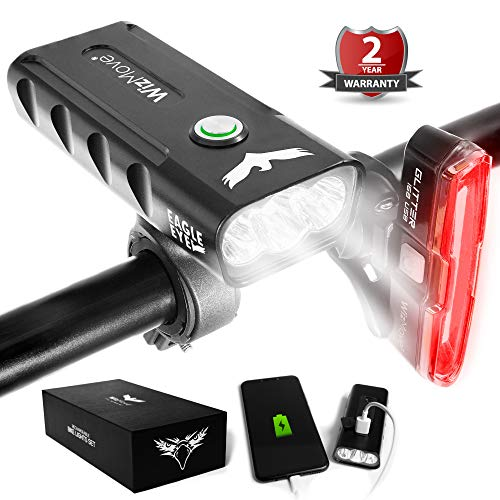WizMove fietsverlichting, oplaadbaar via USB, krachtige fietslamp voor LED Eagle Eye 1000 lumen en LED achter glitter 168 Power Bank 5200 mAh