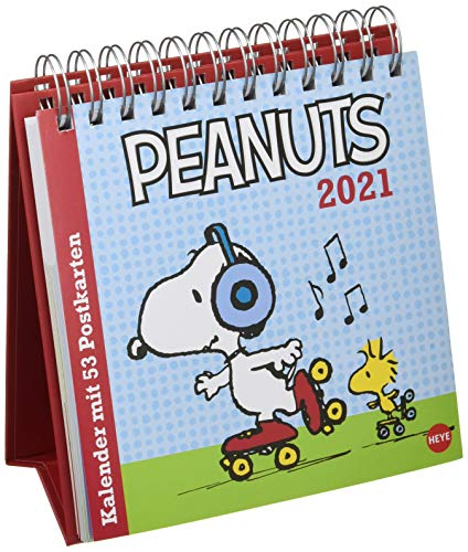 Peanuts Premium-Postkartenkalender 2021 - Wochenkalender zum Aufstellen mit 53 perforierten Postkarten - mit Spiralbindung - Format 16,5 x 17,7 cm