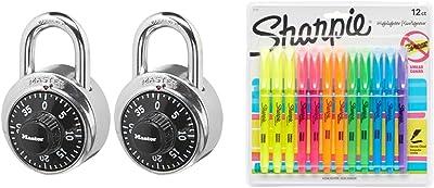 Master Lock 1500T Locker Lock Combination Padlock, 2 Pack, Black & Sharpie 27145 Pocket Highlighters, Chisel Tip, Assorted Colors, 12-Count
