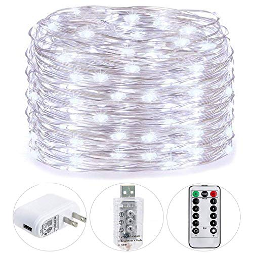 HSicily 49ft 150 LED Fairy Lights Plug in with Remote Control Timer, 8 Modes USB String Light with Adapter,Cool White LED Twinkle Lights for Christmas Thanksgiving Bedroom Indoor Decoration