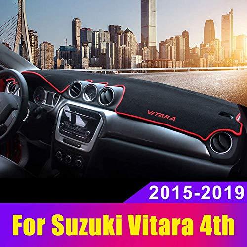 HYNB Car Dashboard Cover Dashboard Matte Sun Shade Pad Dashboard Alfombras para Suzuki Vitara 4. 2015-2019, Rojo