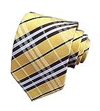 Eeleva New Classic Scottish Tartan/Plaid Silk Ties Wedding Necktie (yellow black)