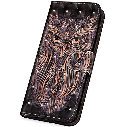 Surakey PU Leder Hülle für Samsung Galaxy S7 Handyhülle Handytasche 3D Gemalt Muster Glitzer PU Tasche Schutzhülle Flip Case Brieftasche Etui Wallet Case Ständer Kartenfächer, Eule