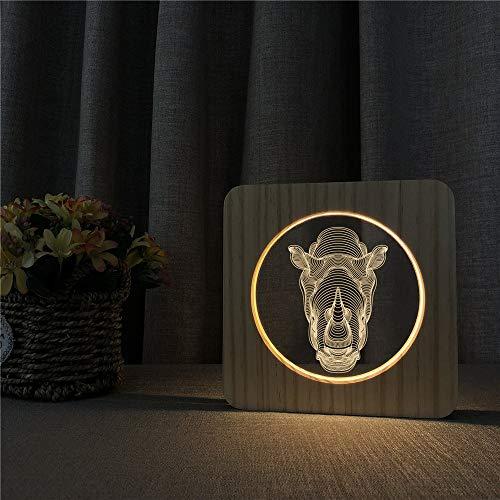 Lámpara de Mesa de luz de Noche de Madera acrílica Interruptor de Control lámpara de Grabado para niños Regalos de decoración de Regreso a la Escuela