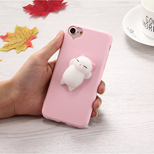 Shiningxie New For iPhone 8 & 7 3D Little Bear Pink Ears Pattern Squeeze Relief Squishy Dropproof Protective Back Cover Case