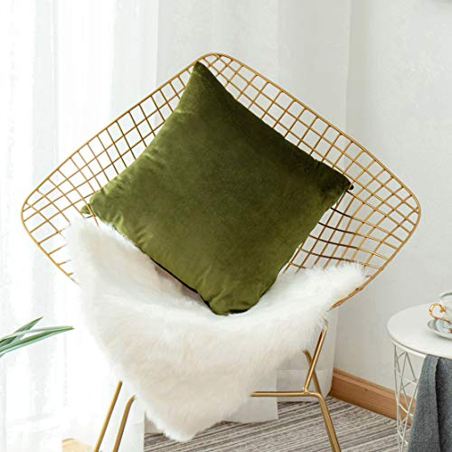 Home Brilliant Pillow Covers Velvet Pillow Cases Solid Decorative Square Summer Throw Pillow Covers for Sofa Bedroom Car 45cm(18x18 inches), Avocado Green