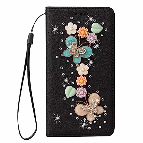 Nadoli Pelle Custodia con Diamante per iPhone 6S Plus/6 Plus 5.5',3D Fatto a Mano Farfalla Floreale Seta Modello Lucente Bling Cinturino da Polso Portafoglio Protezione Cover