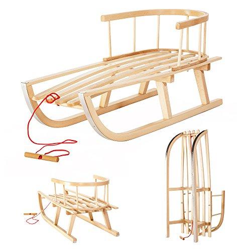 Mixpack Holzschlitten aus Buchenholz mit Rückenlehne und Zugseil für Kinder Kinderschlitten