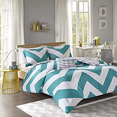 Turquoise and White with Bold Large Geometric Design