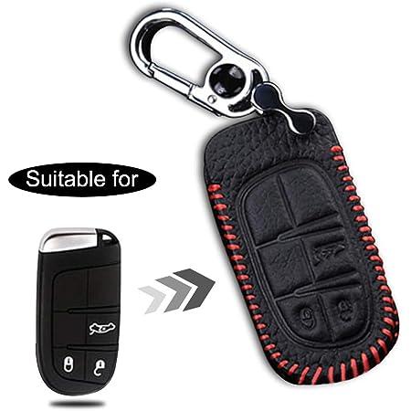 Maiqiken Autoschlüssel Hülle Für Cherokee Compass Kunstleder Stitched Schutzhülle Schlüsselhülle Cover Case Für Renegade Wrangler Autoschlüssel Auto