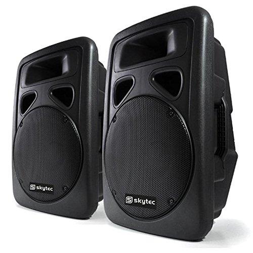 Skytec Sonido Profesional Pareja de Altavoces autoamplificados DJ 12'(30cm) 300W RMS 600 W máx. ABS Bass Driver Sección de micrófono Diseño Monitor Montaje Soporte trípode Asas de Transporte