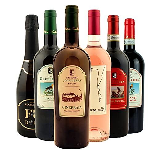 Box Degustazione Vini Toscana - Spumante Bianco Rosato e Vino Rosso - Fattoria Uccelliera - 6 Bottiglie 0,75 L - Idea Regalo