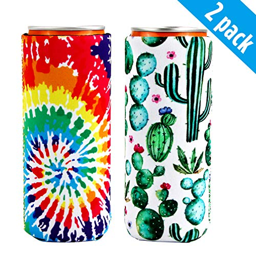 2pcs Neoprene Slim Beer Can Cooler Sleeves Thermocoolers Holders for 12oz Slim Cans Like Red Bull, White Claw