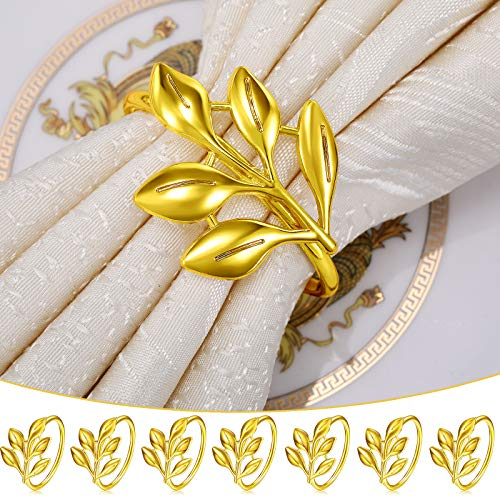 WILLBOND Leaf Napkin Rings Holders Fall Party Napkin Rings for Christmas Thanksgiving Parties, Wedding Adornment, Table Decoration Accessories (Gold, 12)