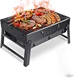 ORDA Small Portable Charcoal Grill, Mini Folding Barbecue Grill Stainless Steel Tabletop Kabab BBQ Grill for Outdoor,Beach,Cooking,Picnic,Backyard,Travel,Party,Tailgating,Garden ect, Lightweight Space-Saving,Black