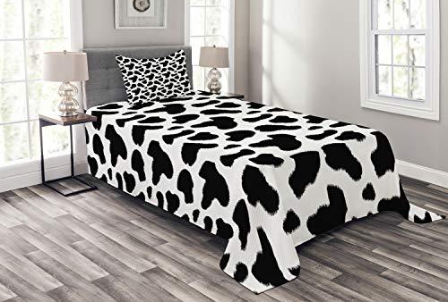 ABAKUHAUS Kuh-Druck Tagesdecke Set, Kuhfell Schwarz Spots, Set mit Kissenbezügen Waschbar, für Einzelbetten 170 x 220 cm, Weiß Grau