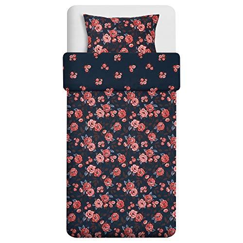 BackVICKER poszewka na kołdrę i poszewka na poduszkę 150 x 200/50 x 60 cm ciemnoniebieski/kwiat