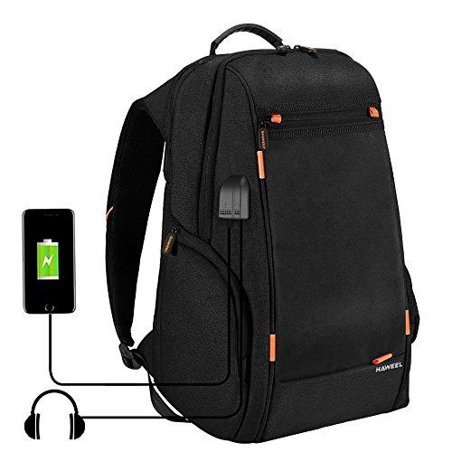 HAWEEL Mochila para laptop casual, transpirable, con energía de panel solar, multifunción, para universidad, viaje, con puerto de carga USB y puerto para audífonos, Negro