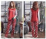 BOLIXIN pijamaAmantes Traje Pijamas Algodón Parejas Pijamas Conjunto Invierno Mujer Manga Larga Ropa de Dormir Hombres Salón Homewear Tallas Grandes, H Mujeres Get, M
