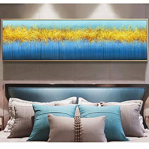 BailongXiao Impresión de Lienzo nórdico impresión Azul Dorado Dormitorio decoración Sala de Estar Mural Moderno Dormitorio Simple,Pintura sin Marco,75x262cm