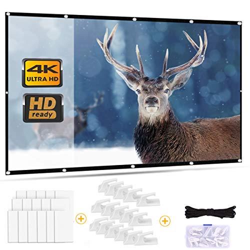 Outry - Pantalla para proyector (120 pulgadas, 16:9, pantalla de proyección plegable para cine en casa, cine al aire libre, proyección frontal y trasera (271 cm x 155 cm)