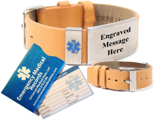 Top Grain Tan Leather Medical Alert Identification...