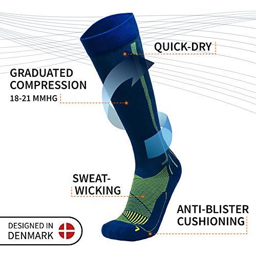 Abgestufte Kompression Socken für Männer & Frauen EU 35-38 // UK 3-5 Blau/Neon Gelb - 1 Paar - 3