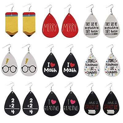 I Love Math Leather Earrings Lightweight Cute Creative Earring Leather Earrings Set Handmade Math Pattern Teardrop Dangle Earrings for Woman Girl Jewelry