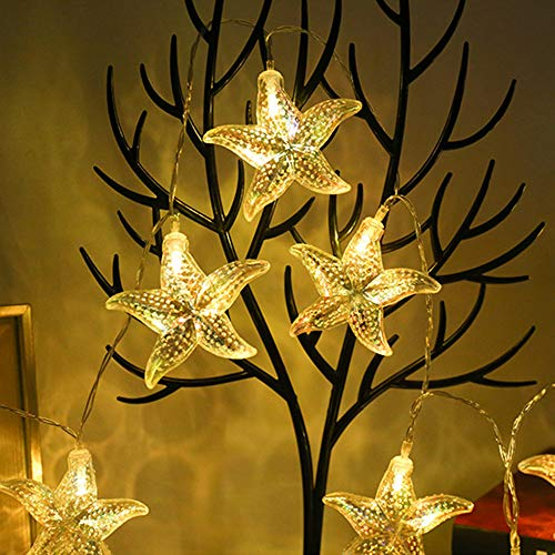 Led String Light Ocean Themed Fairy Starfish Sea Shell Lighting Warmwhite Decorative Starry Night Lights Battery Operated 1.5 Meters 10 LEDs for Home Bedroom Centerpieces Party (Starfish)