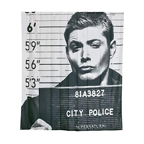 Bovennatuurlijk douchegordijn Dean Winchester in gevangeniswandspandoek 180x200cm Elbenwald zwart wit