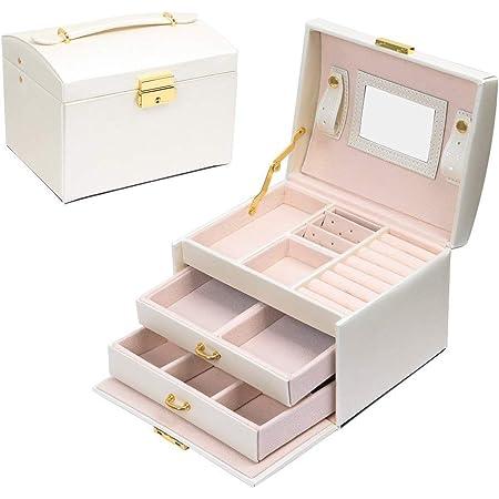 E-MANIS Boîte à bijoux Coffret pour bijoux à montre à maquillage,bijoux et cosmétique beauty Case,Doublure en velours,Affichage étui de rangement avec serrure et clé,Bonne idée Cadeau (Blanc)