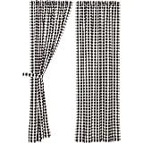 VHC Brands Annie Buffalo Check Panel Set Farmhouse Cotton Window Treatment for Living Room Curtain, 84x40,...