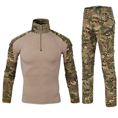 HARGLESMAN Military BDU Uniform Camo Airsoft Paintball Soft Comfy Breathable Comfortable Long Sleeve Shirt and Pants Tactical Combat Practical Training Suit Camouflage M