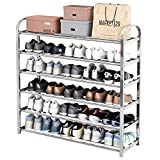Shoe Rack Organizer for Closet Entryway, 5-Tier Expandable Free Standing Shoe Rack Stainless steel Shoes Storage Organizer, Stackable Shoe Shelf for Entryway Doorway Bedroom in silver