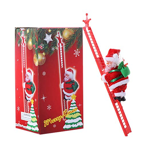 Tooeary Christmas Decor Santa Claus Climbing Ladder Funny Electric Climbing Ladder Santa Claus Christmas Figurine Hanging Ornament for Kids' Gift (Style 1)